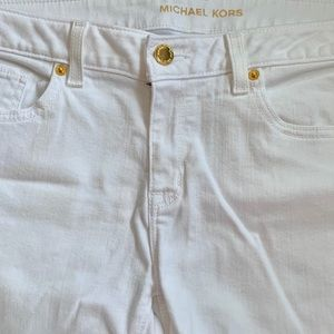 White Michael Kors Jeans with gold detail!